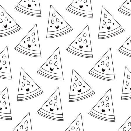 watermelon fresh fruit pattern kawaii character vector illustration design
