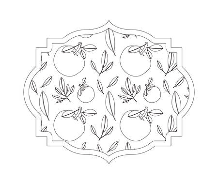 orange with leafs pattern fresh and citrus fruit vector illustration design