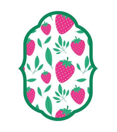 strawberries fresh fruit with leafs frame vector illustration design Ilustração