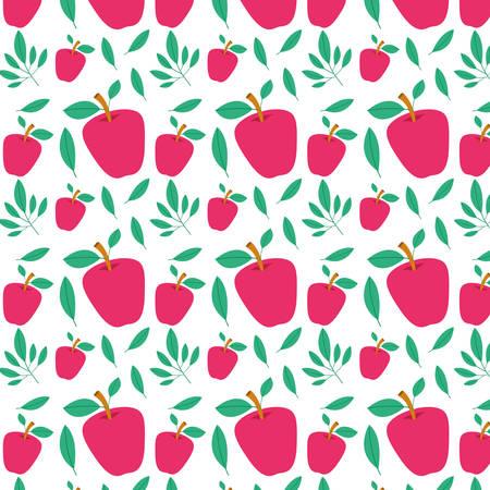 apple fresh fruit pattern background vector illustration design