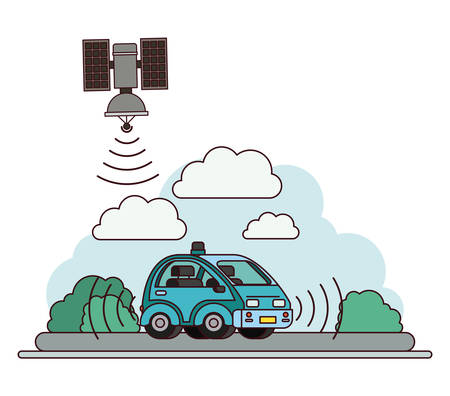 GPS application set icons with car and sattelite vector illustration design