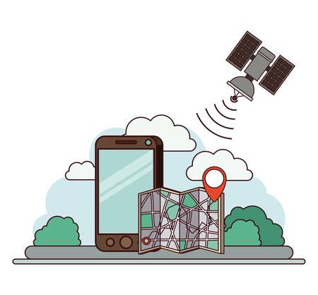 Application GPS définie des icônes vector illustration design. Smartphone avec application ou capacité gps.