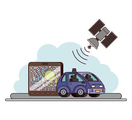 Application GPS définie des icônes vector illustration design. Voiture avec application ou capacité GPS. Vecteurs
