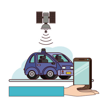 Gps application set icons vector illustration design. Car and smartphone with gps application on capability.