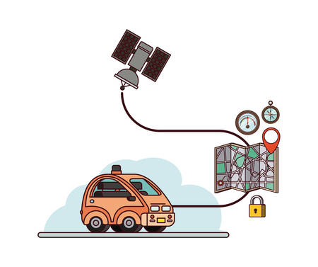 GPS application set icons with car, , map and sattelite vector illustration design Illustration