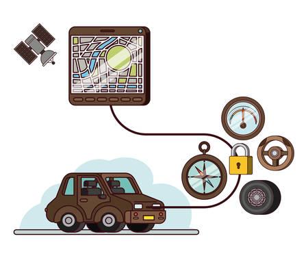 Application GPS définie des icônes vector illustration design. Voiture avec application gps sur la capacité.
