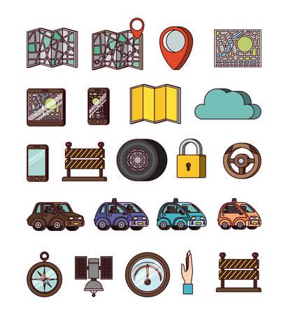 GPS application set like map, compass ,phone icons vector illustration design