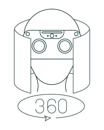 virtual reality technology set icons vector illustration design