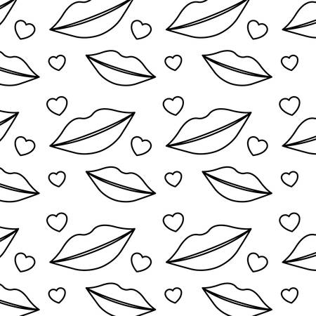 A sensuality lips and hearts pattern background vector illustration design