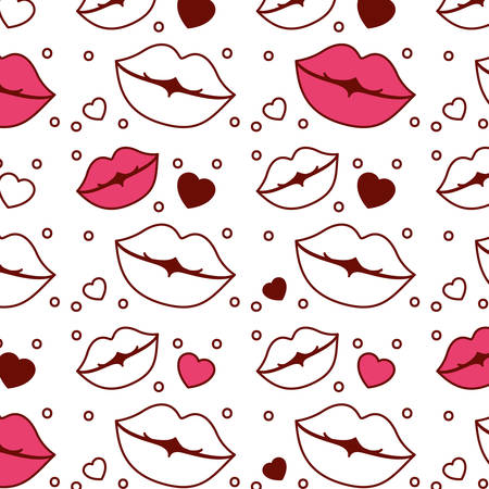Lips and hearts pattern background vector illustration design.