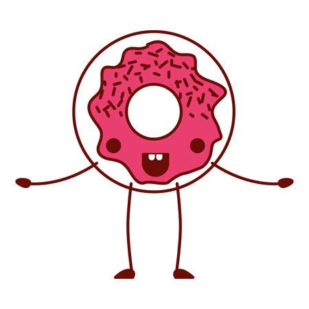 Sweet donut character vector illustration design. Illusztráció