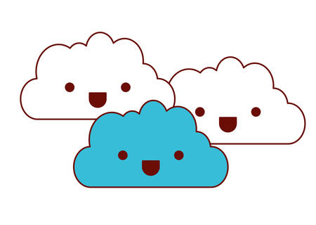 Cute clouds characters vector illustration design. Illustration
