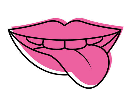 Lips with tongue out vector illustration design.