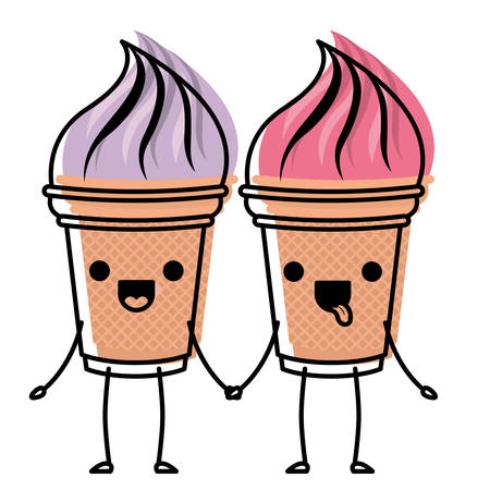 A delicious ice cream couple character vector illustration design