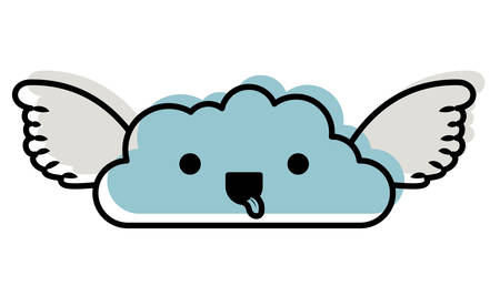 cute cloud with wings kawaii character vector illustration design Illustration