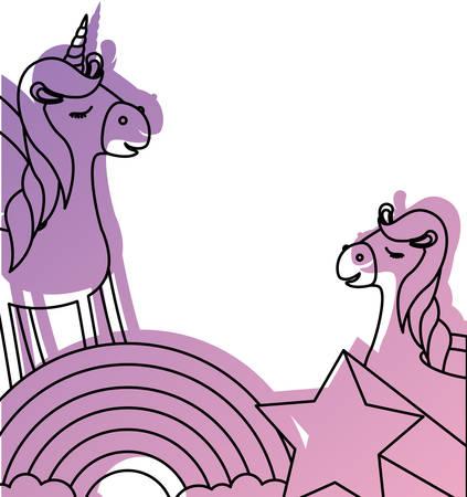 cute unicorn with rainbow and star kawaii character vector illustration design