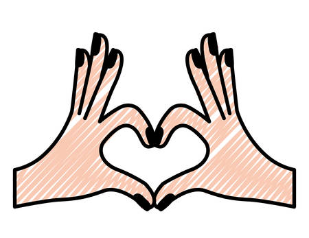 Hands forming a heart with fingers vector illustration design. Illustration
