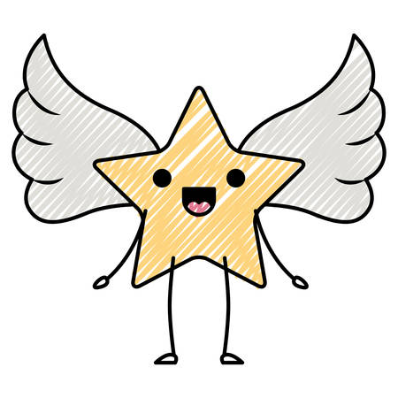 cute star with wings kawaii character vector illustration design Illustration