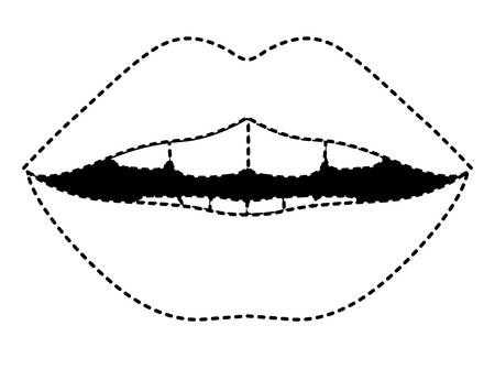 Sensuality lips with teeth vector illustration design.