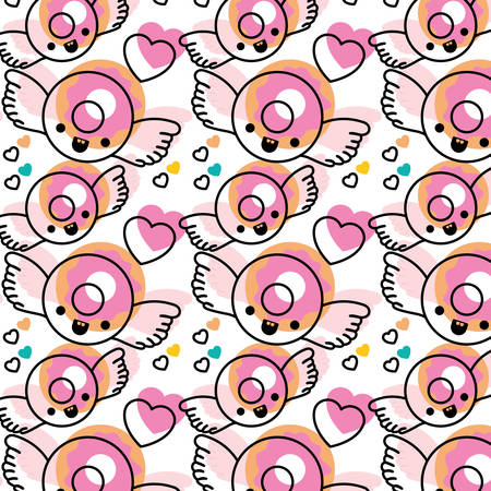Sweet donut with wings kawaii pattern vector illustration design