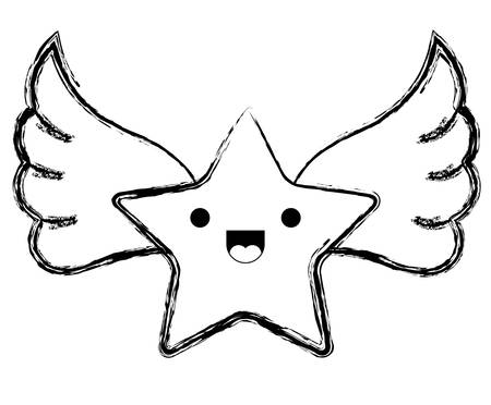 cute star with wings kawaii character vector illustration design  イラスト・ベクター素材