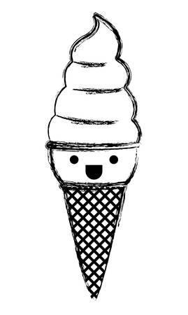 delicious ice cream kawaii character vector illustration design Illustration
