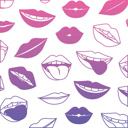sensuality lips with tongue out pattern background vector illustration design Vectores