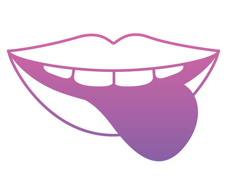 Sensuality lips with tongue out vector illustration design.