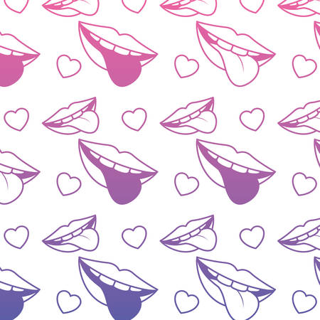 Sensuality lips with tongue out and hearts pattern background vector illustration design.