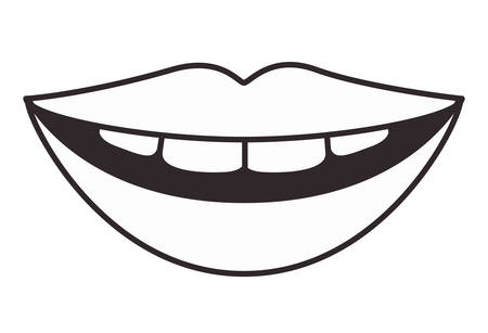 lips with teeth vector illustration design