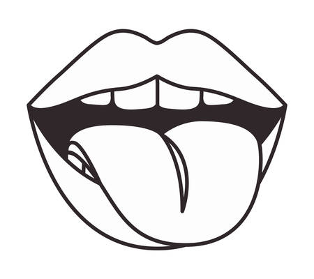 lips with tongue out vector illustration design
