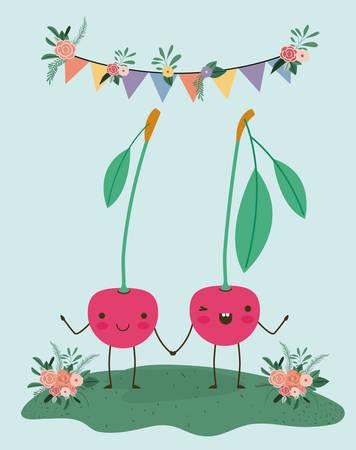 cute cherries couple in landscape  character vector illustration design Vectores
