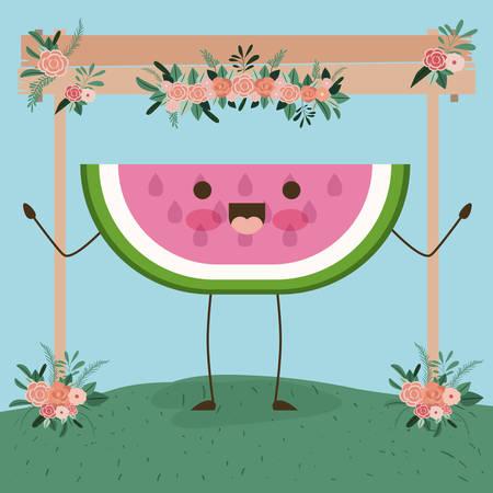 Cute sliced watermelon in floral landscape illustration. Vettoriali