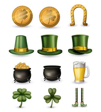 Saint Patricks day typical elements set