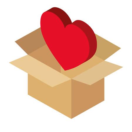 Kastenkarton mit Herzvektor-Illustrationsdesign Standard-Bild - 96803607