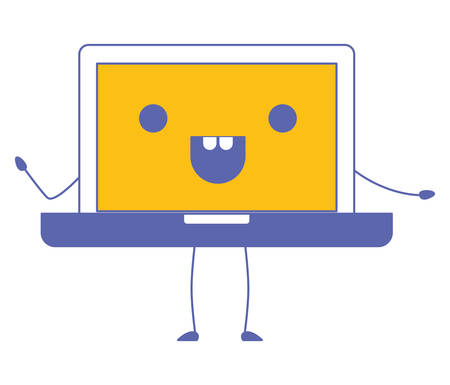 laptop computer kawaii character vector illustration design