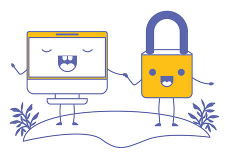 Computer display and padlock, kawaii characters vector illustration design