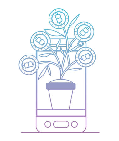 smartphone with plant of bitcoins icon vector illustration design Illustration