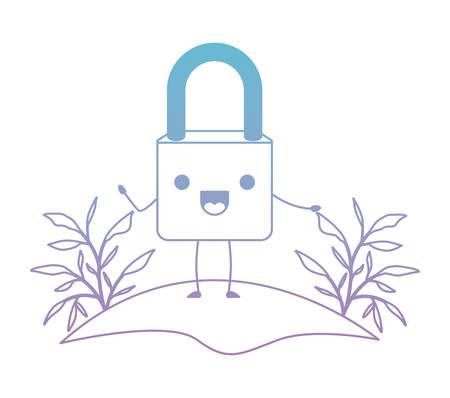 safe secure padlock in camp character vector illustration design Illustration