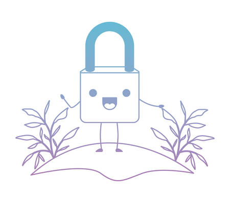 safe secure padlock in camp character vector illustration design Vettoriali