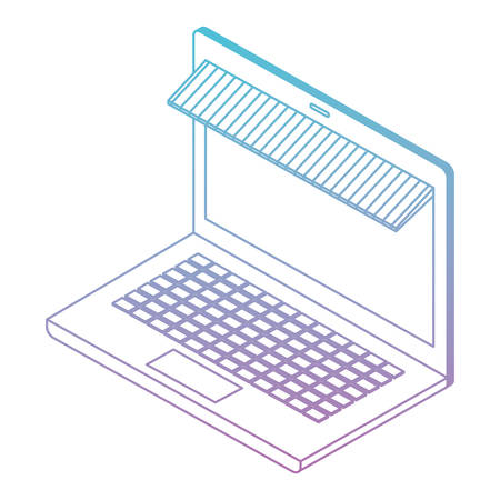 laptop computer with parasol isometric vector illustration design