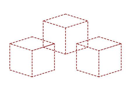 cubic set matrix geometric icons vector illustration design Illustration