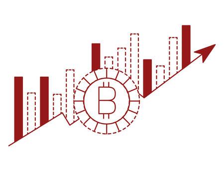 bitcoin money with statistics bars vector illustration design