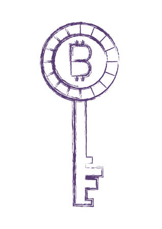 key with bitcoin money vector illustration design