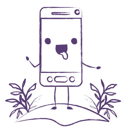 smartphone in field character vector illustration design