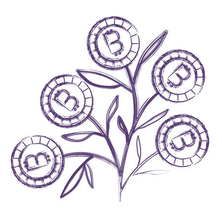 plant with bitcoins icon vector illustration design