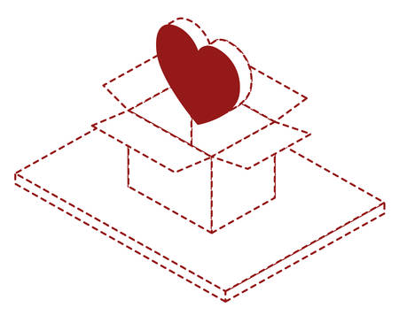 box carton with heart isometric vector illustration design Illustration