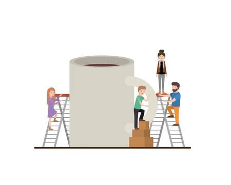 teamwork mini people doing coffee cup vector illustration design Çizim