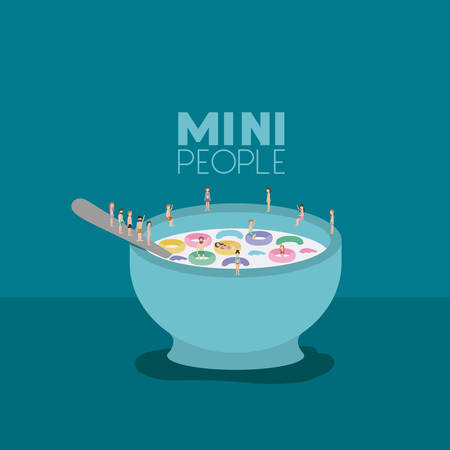 mini people group with cereal and milk vector illustration design Illustration