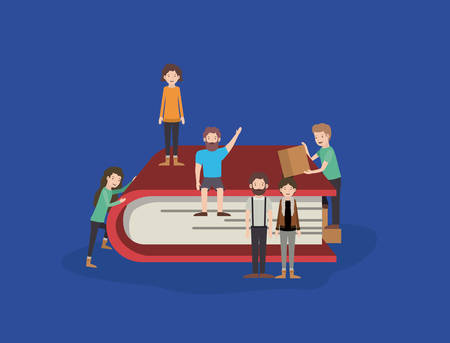 mini people with book vector illustration design